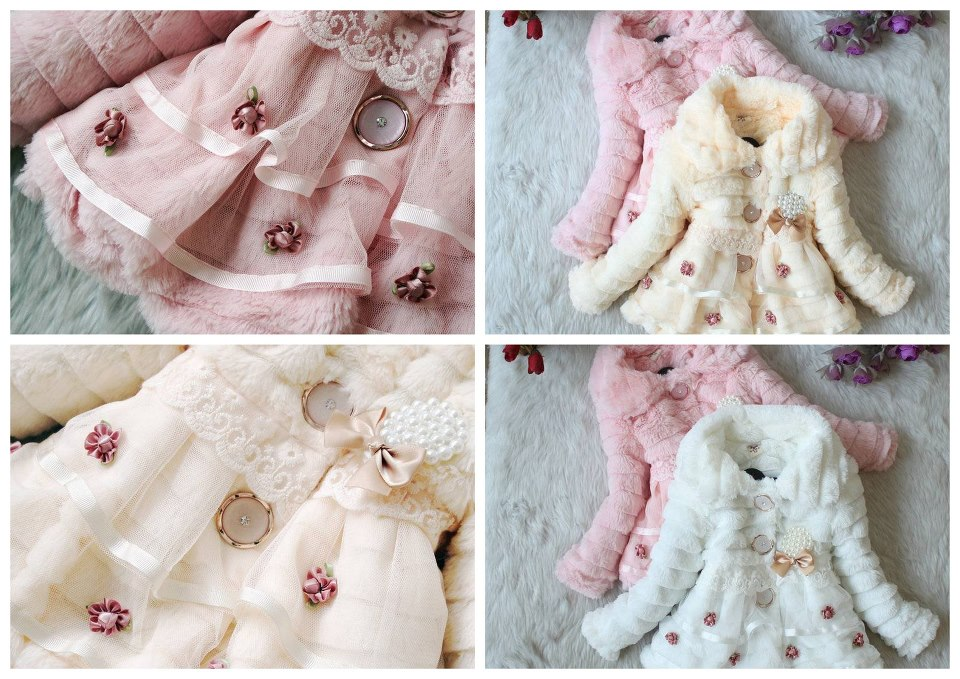 cream and pink winter jackets for girls