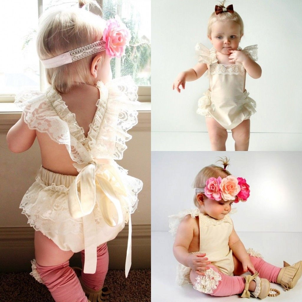 Baby open back romper