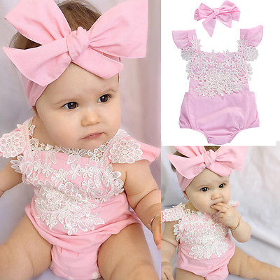 Lace pink baby romper