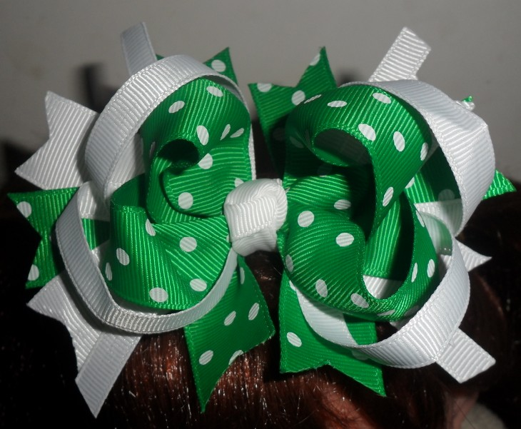 Green and white Hair bow