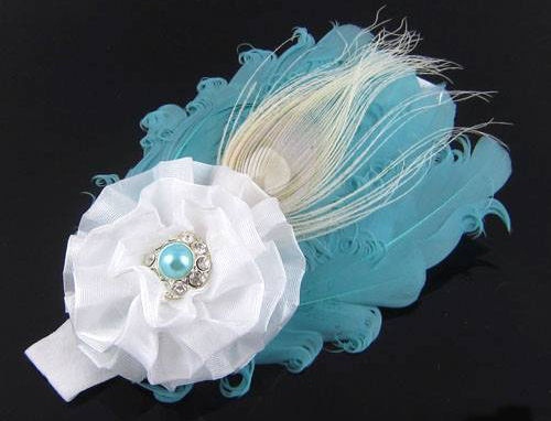 Aqua and white feather headband
