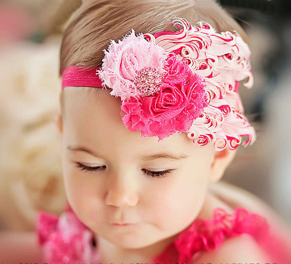 Dual pink feather headband