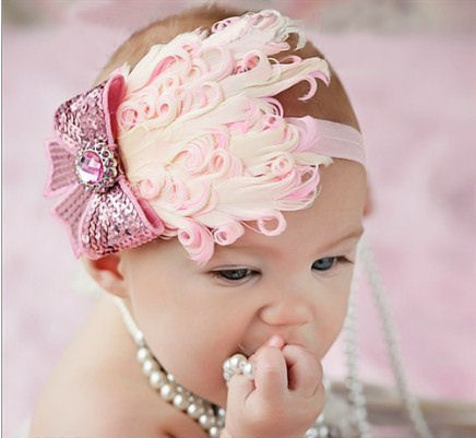 Baby Pink feather headband