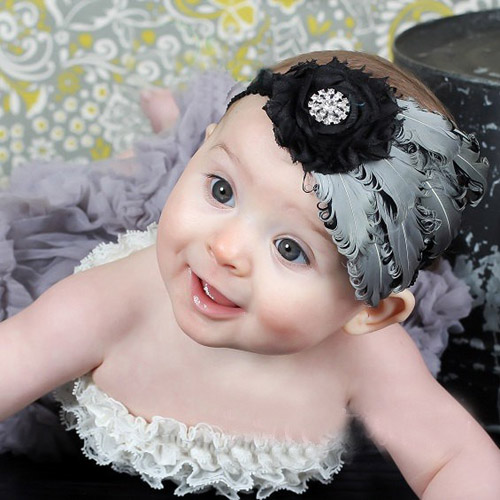 Black and silver feather headband