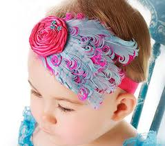 Blue and Pink feather headband