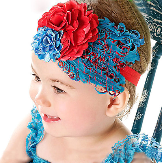 Red and Blue Feather Headband