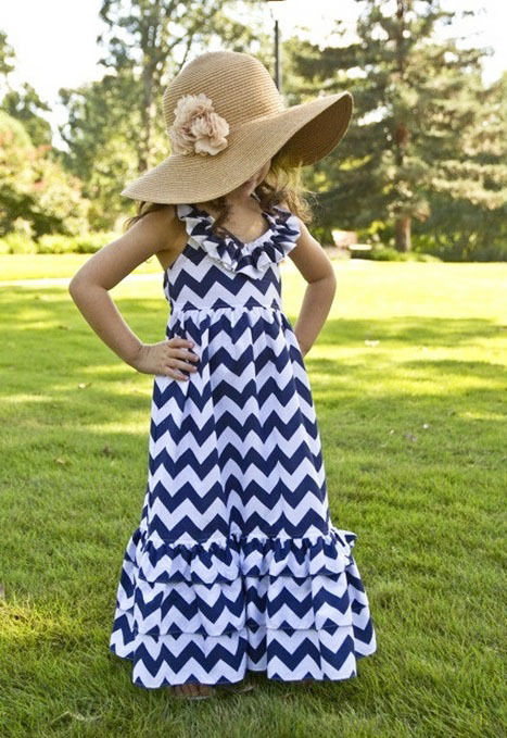 Navy Chevron Dress