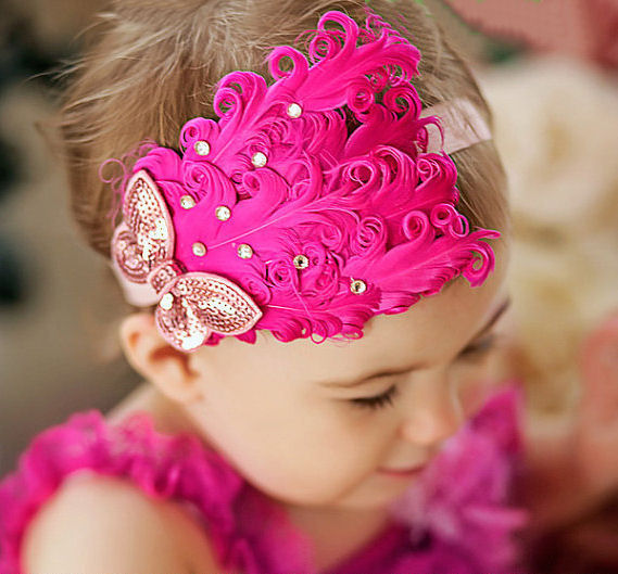 Hot Pink feather headband