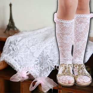 Girls lace knee high socks