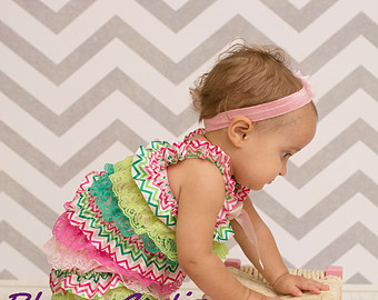 Pink/Lime Chevron Romper Set