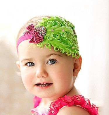 Strawberry lime feather headband
