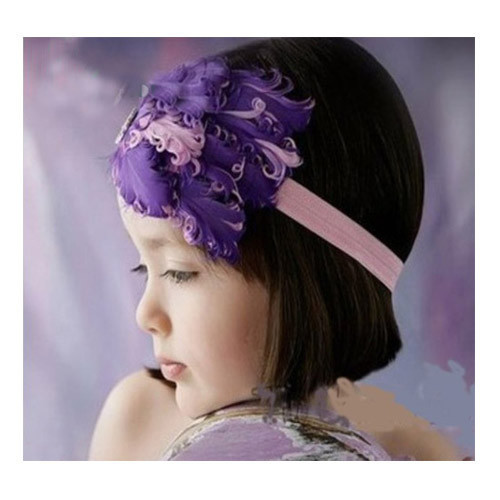 Pink and purple feather headband