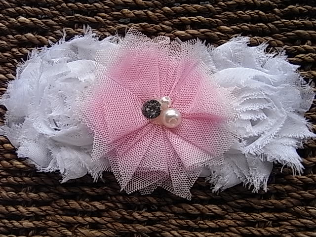 Pink and White Shabby Headband