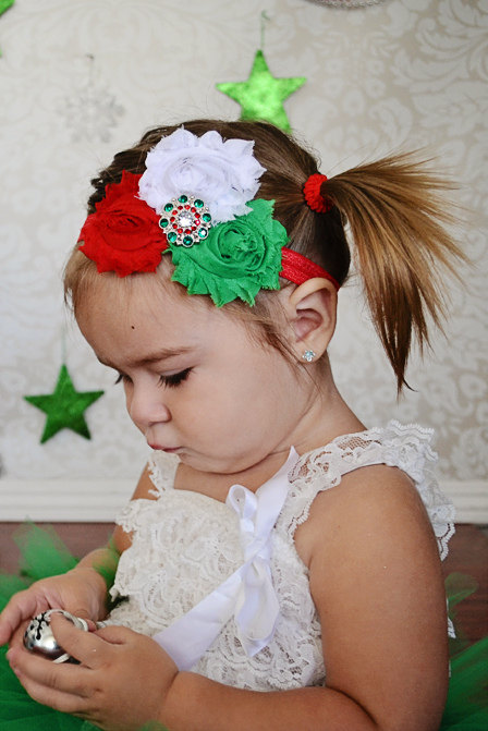 Christmas shabby headband