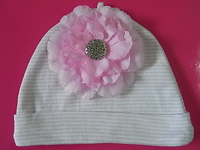 Striped Pink Flower Beanie