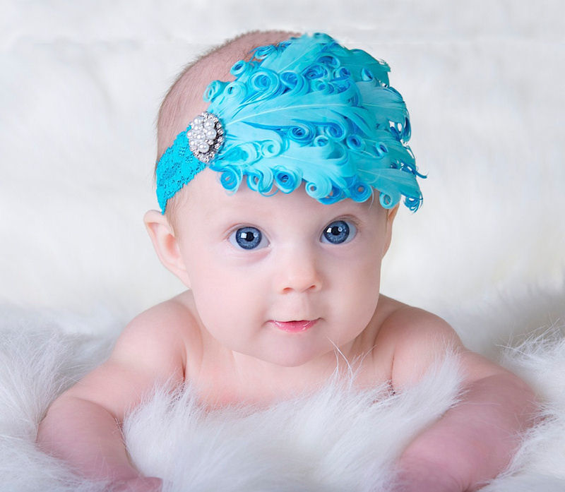 Turquoise Feather headband