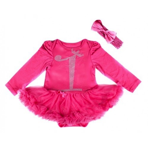 Hot Pink First Winter birthday Onesie