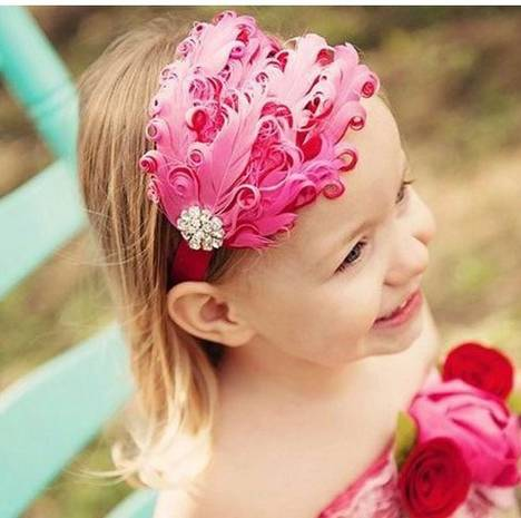Raspberry feather headband