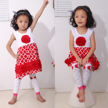 Red and white Rosette Dress